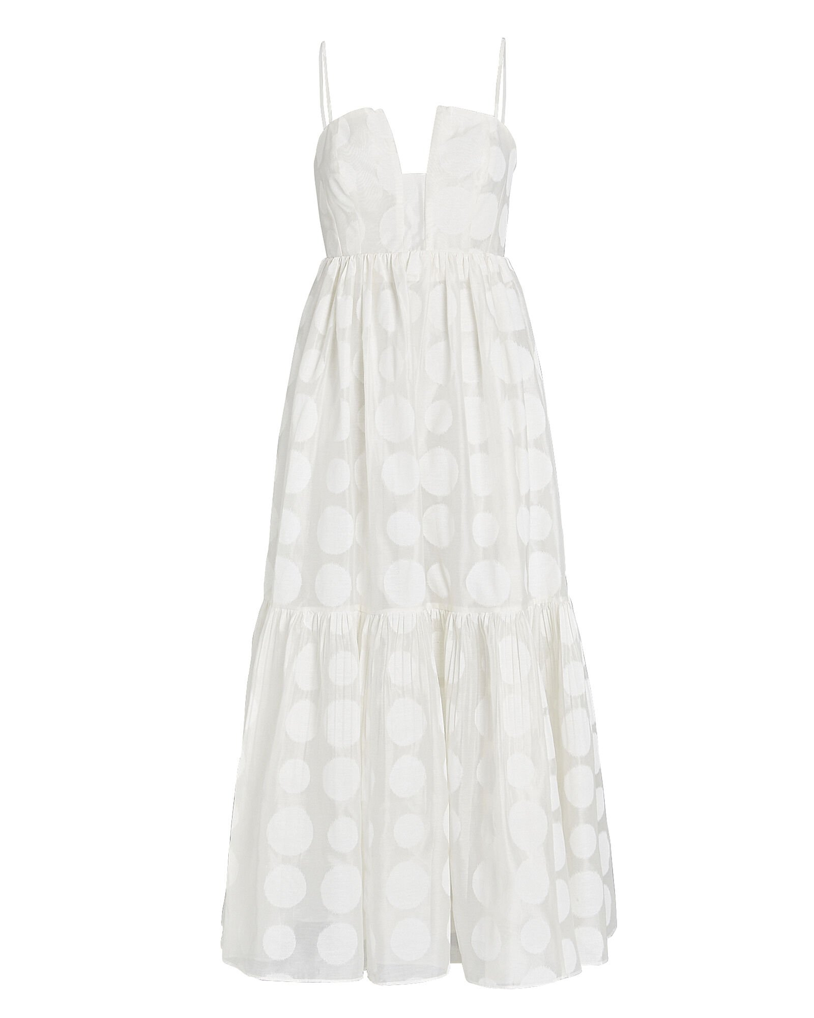 Aimie Polka Dot Maxi Dress, WHITE, hi-res
