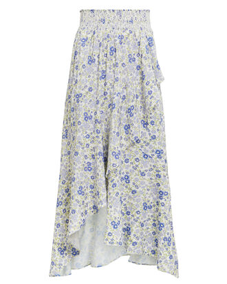 Carmen Printed High-Low Skirt, IVORY/BLUE FLORAL, hi-res