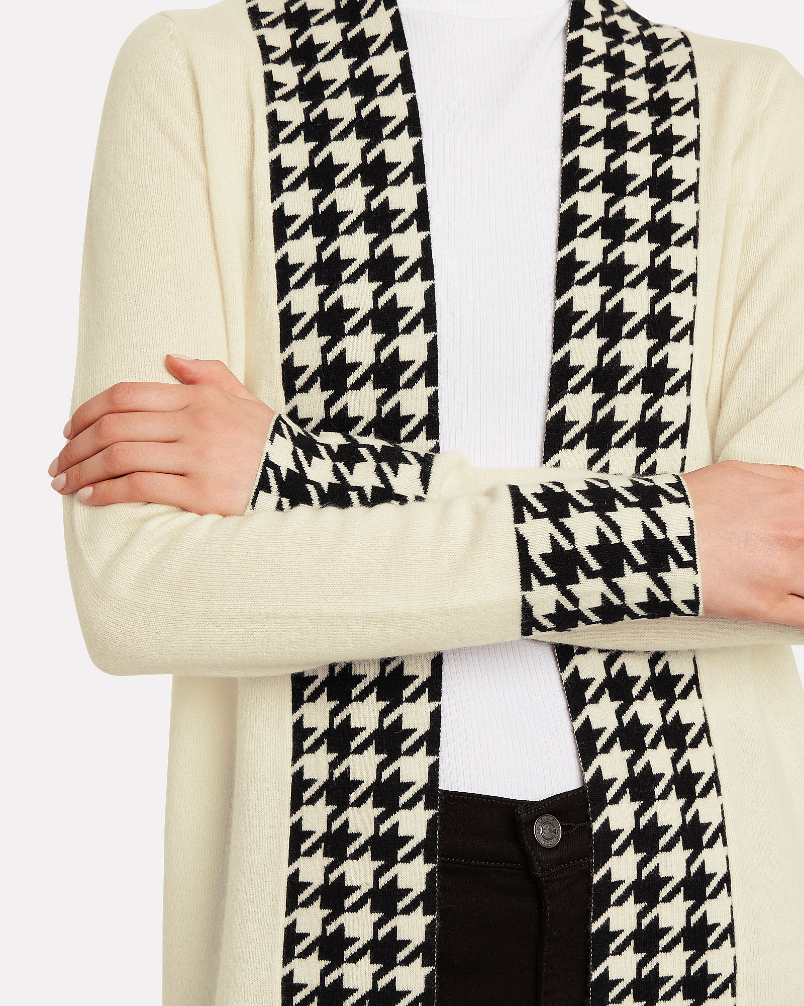 Anita Houndstooth-Trimmed Cashmere Duster, IVORY/HOUNDSTOOTH, hi-res