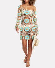 Cinel Crocheted Mini Dress, IVORY/TURQUOISE, hi-res