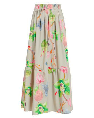 Floral Cotton Pleated Skirt, BEIGE, hi-res