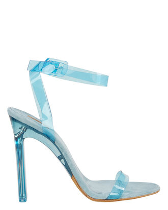 Blue PVC Ankle Strap Sandals, BLUE, hi-res