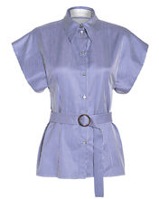 Belted Striped Button Down Shirt, BLUE/WHITE STRIPES, hi-res