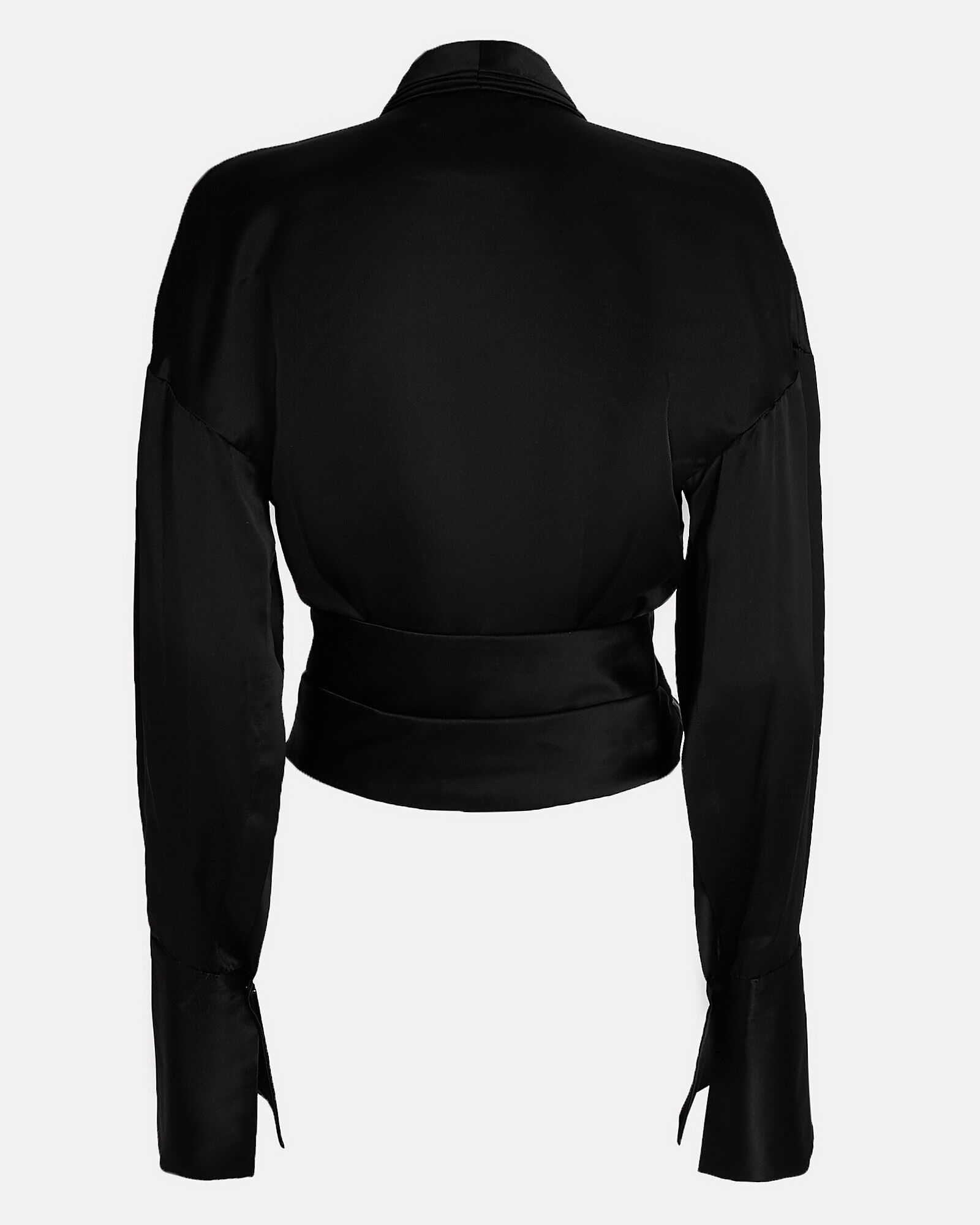 Harlow Draped Silk Top, BLACK, hi-res