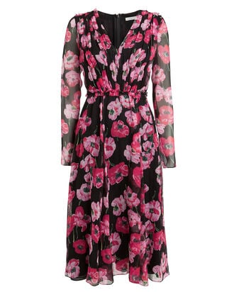 Poppy Floral Crinkle Chiffon Dress, BLACK/PINK FLORAL, hi-res