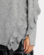 Ruffled Turtleneck Sweater, GREY, hi-res