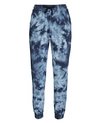 Cropped Cotton Tie-Dye Joggers, BLUE, hi-res