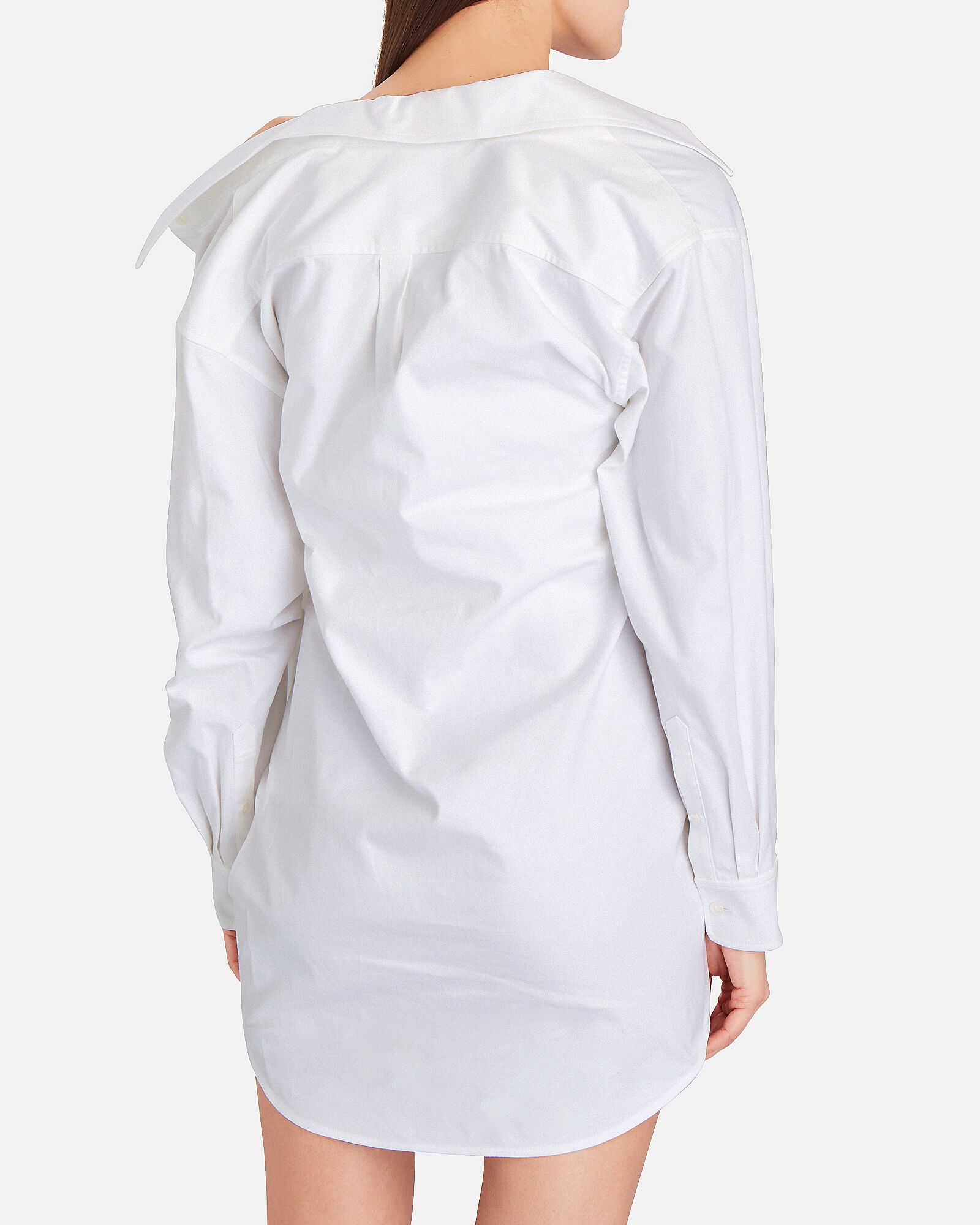 Falling Twist Layered Shirt Dress, WHITE, hi-res