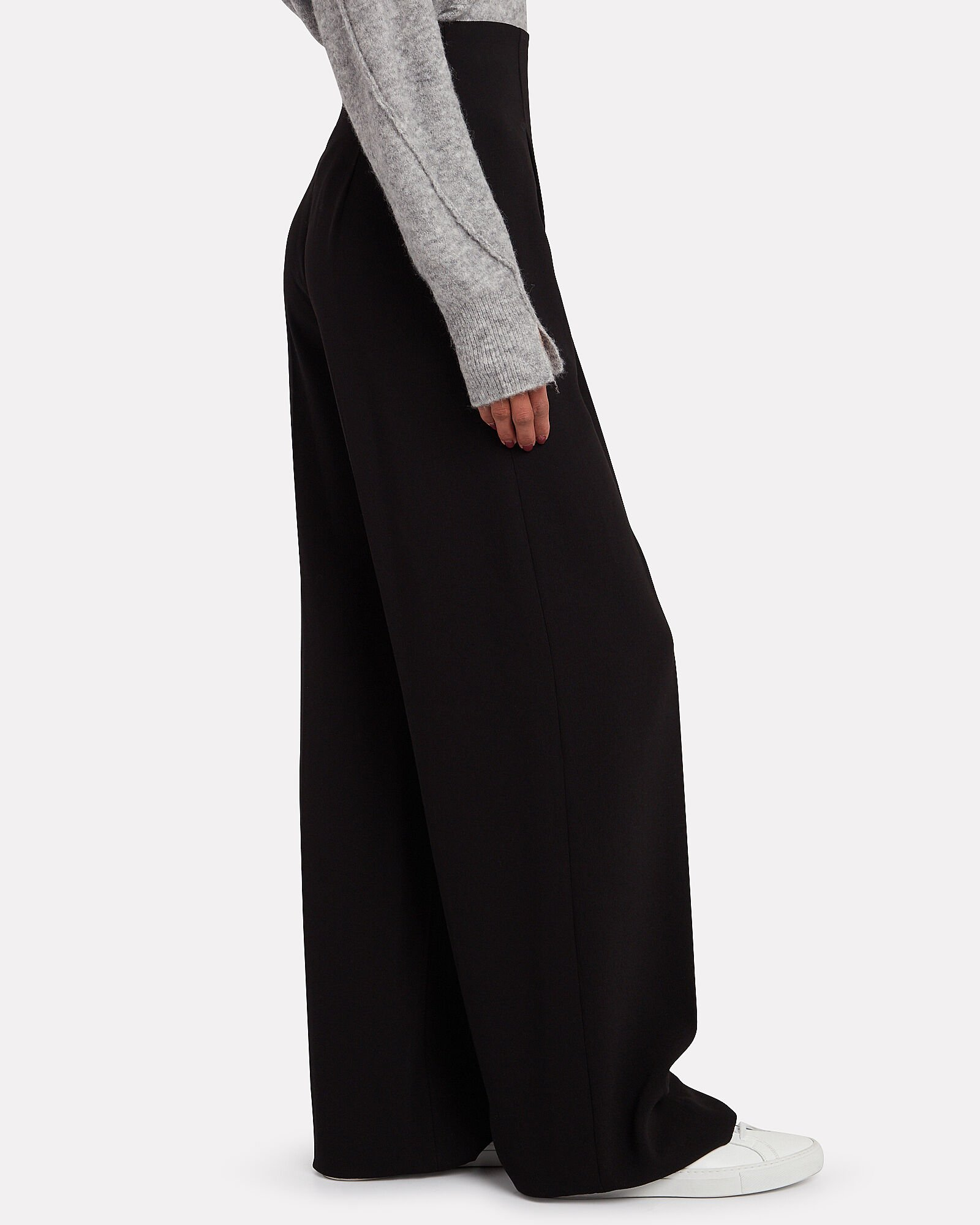 Pleated Crepe Wide Leg Pants, BLACK, hi-res