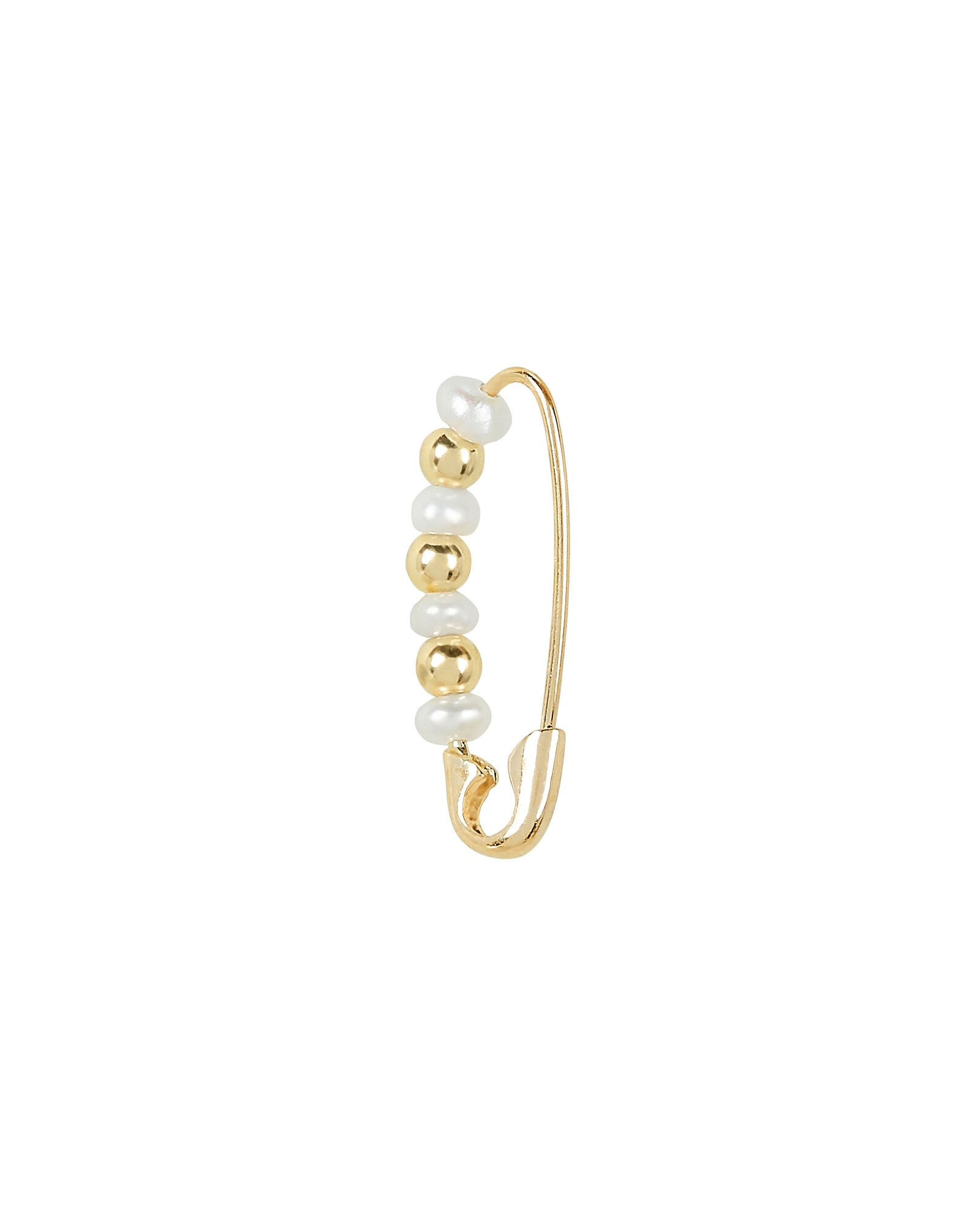 Friendship Pearl Safety Pin Single Earring, GOLD, hi-res