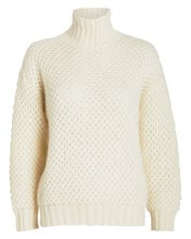 Waffle Knit Mohair Turtleneck Sweater, IVORY, hi-res