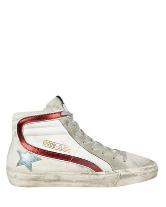 Slide Star High Top Sneakers, WHITE/RED, hi-res
