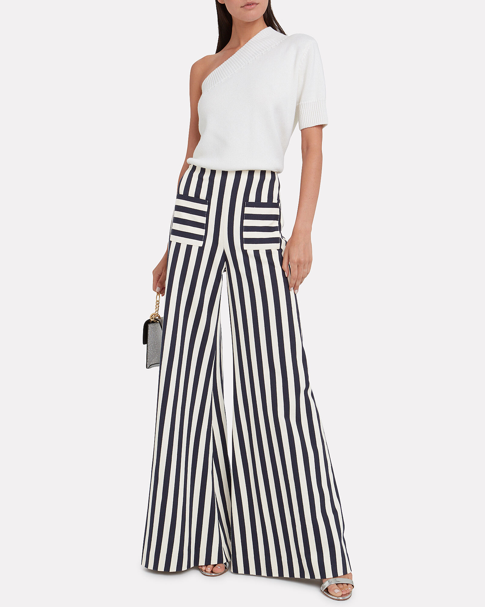 Luc Striped Wide Leg Pants, BLACK/WHITE STRIPE, hi-res
