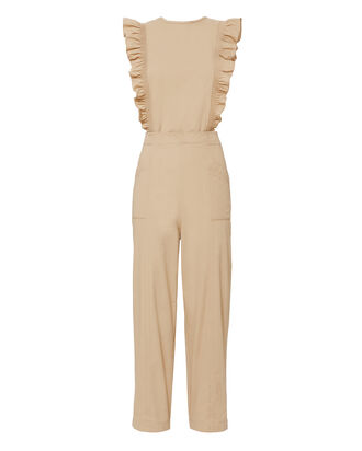 Phillips Ruffle Jumpsuit, BEIGE/KHAKI, hi-res