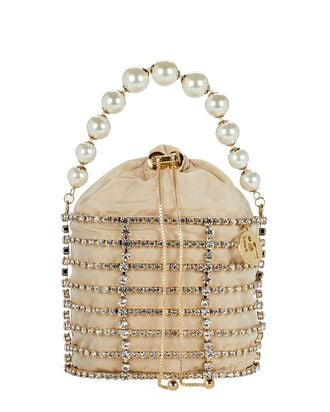Melanie Crystal Cage Bucket Bag, GOLD, hi-res
