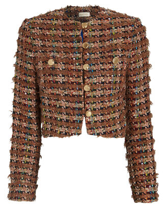 Molly Cropped Bouclé Jacket, BROWN, hi-res