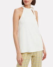 Chalky Draped Tie Neck Top, WHITE, hi-res