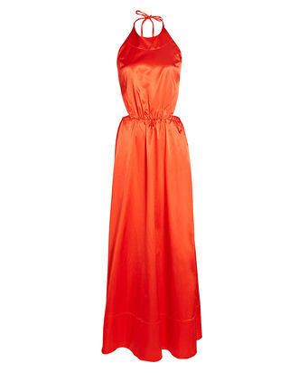Sidney Satin Cotton-Blend Maxi Dress, RED, hi-res