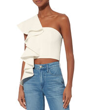 Hailey One Shoulder Ruffle Top, WHITE, hi-res