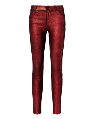 Metallic Red Leather Pants