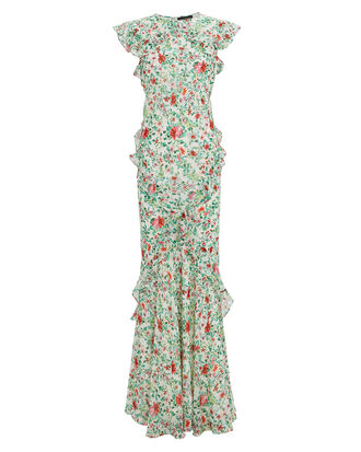 Tamara Floral Silk Ruffle Gown, GREEN/RED FLORAL, hi-res