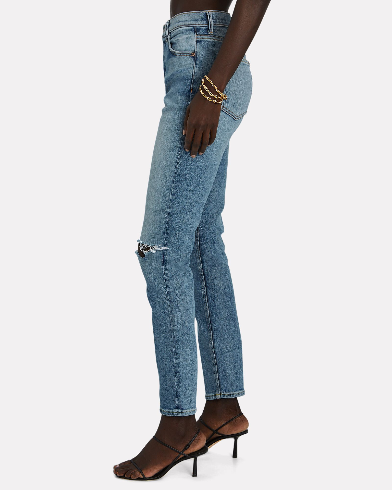 Karolina Distressed High-Rise Jeans, DENIM, hi-res