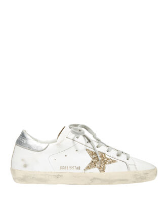 Superstar Gold Glitter Leather Star Low-Top Sneakers, WHITE, hi-res