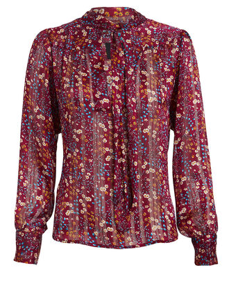 Hazel Floral Tie Neck Blouse, MULTI, hi-res