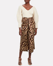 Knotted Tiger Striped Silk Skirt, BROWN/BEIGE TIGER STRIPE, hi-res