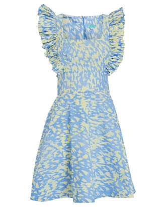 Effe Ruffled Cotton Print Mini Dress, MULTI, hi-res