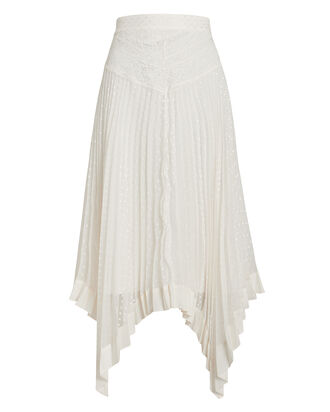 Espionage Sunray Pleated Lace Skirt, PEARL, hi-res