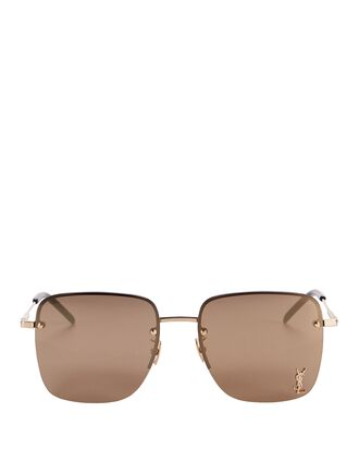 Half-Rim Square Logo Sunglasses, GOLD, hi-res