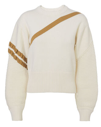 Camel Stripe Sweater, WHITE, hi-res