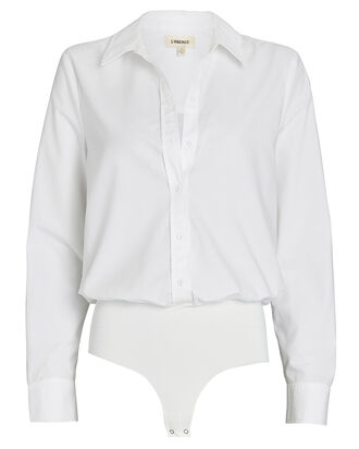 Blake Cotton Button-Down Bodysuit, WHITE, hi-res