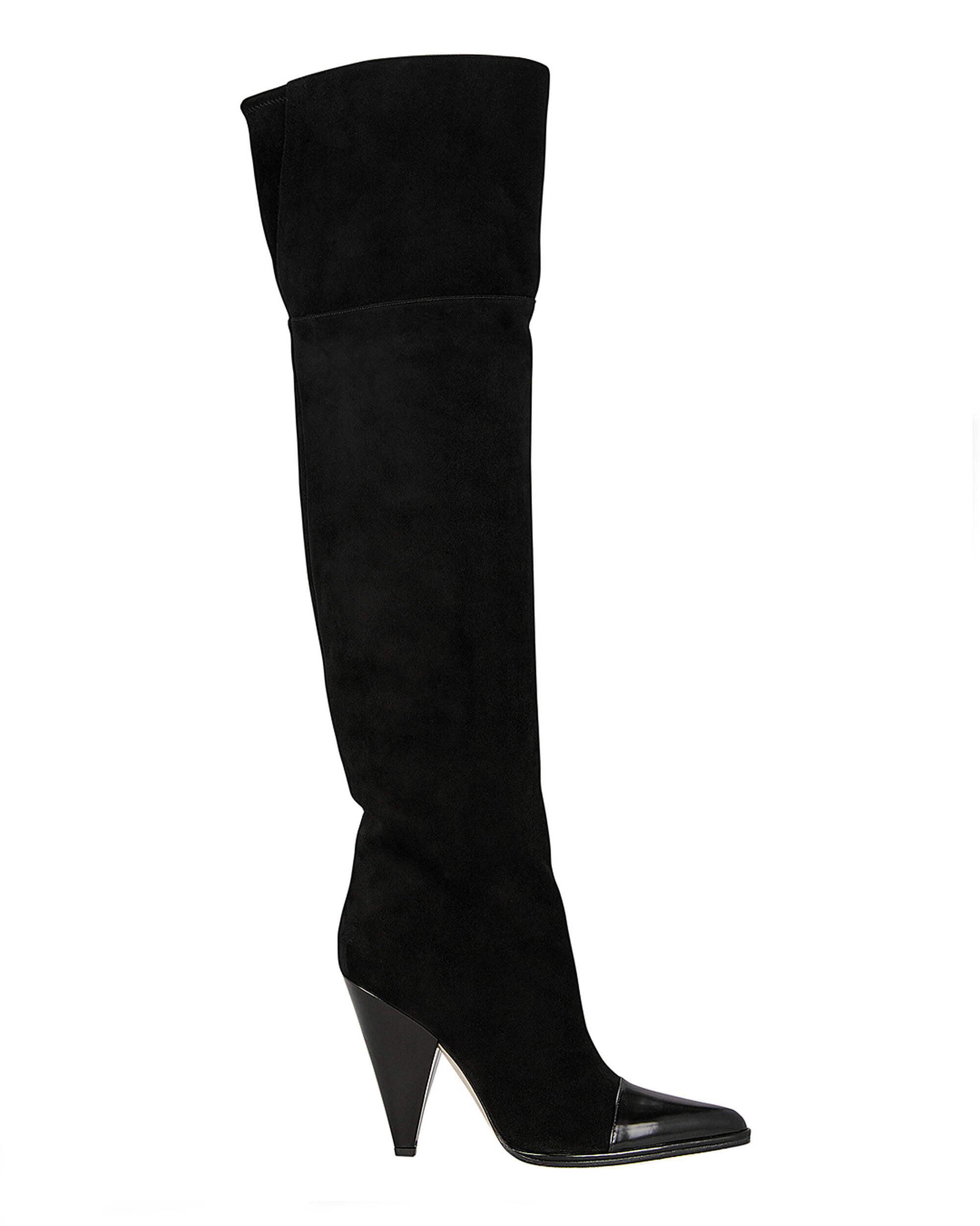 Carla Leather Cap Toe Suede Boots, BLACK, hi-res