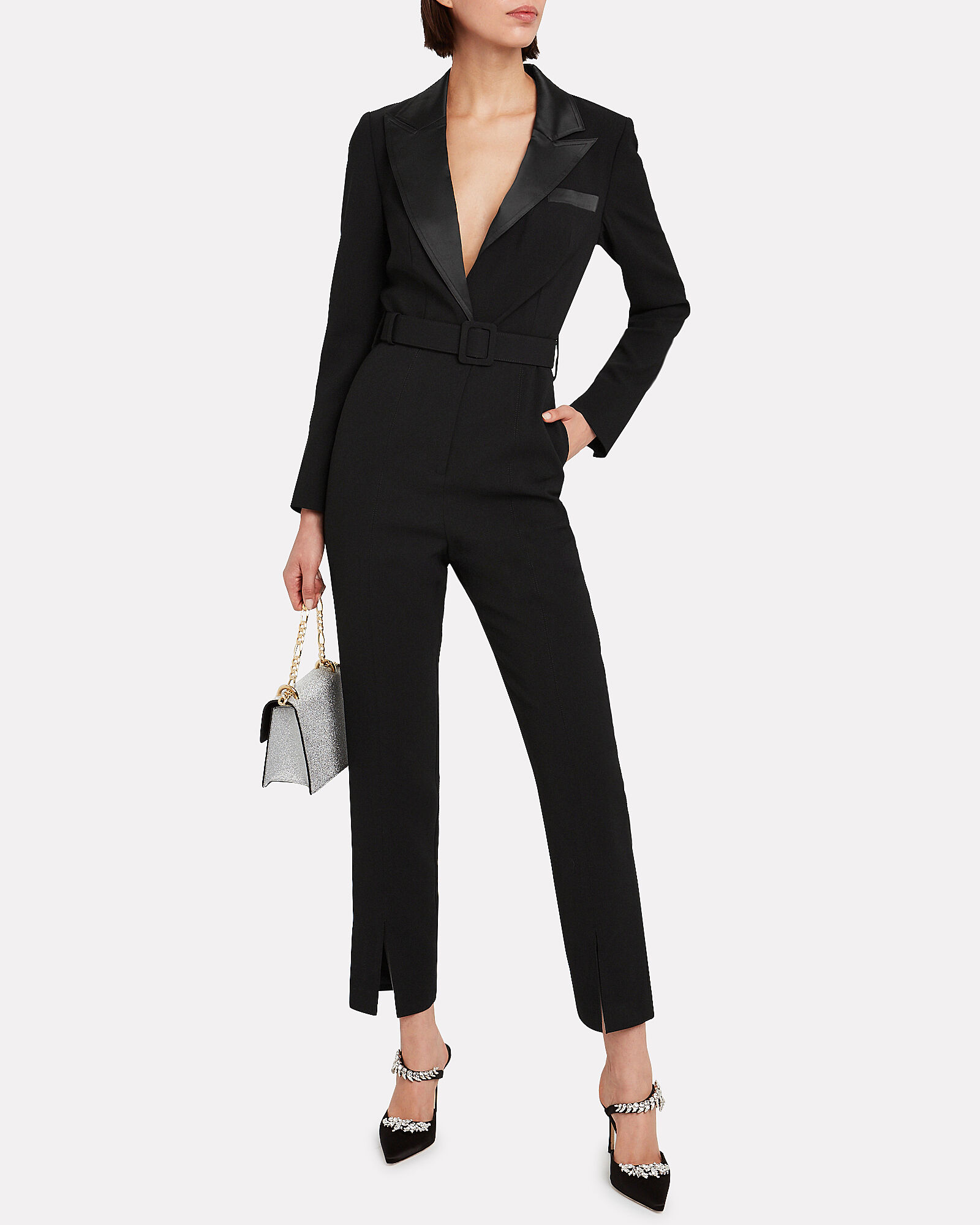 Tailored Crepe Cigarette Jumpsuit, BLACK, hi-res