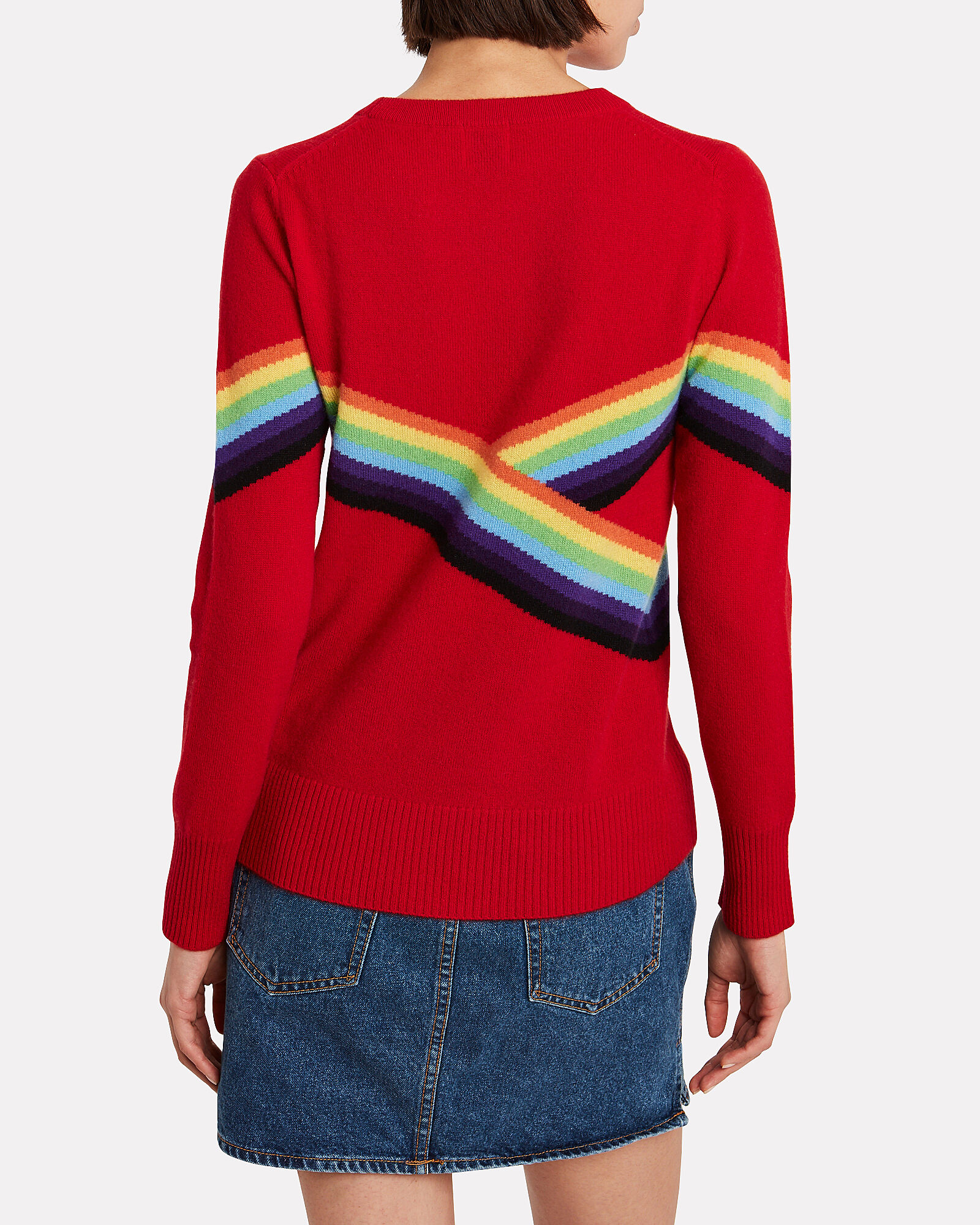 Beatrice Rainbow Crewneck Sweater, RED, hi-res