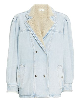 Lucinda Faux Shearling Denim Jacket, BLUE-LT, hi-res