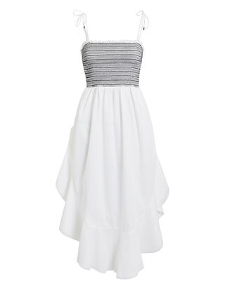 Alexia Smocked Midi Dress, WHITE/BLACK, hi-res