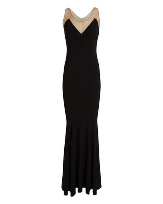 Racer Fishtail Gown, BLACK, hi-res