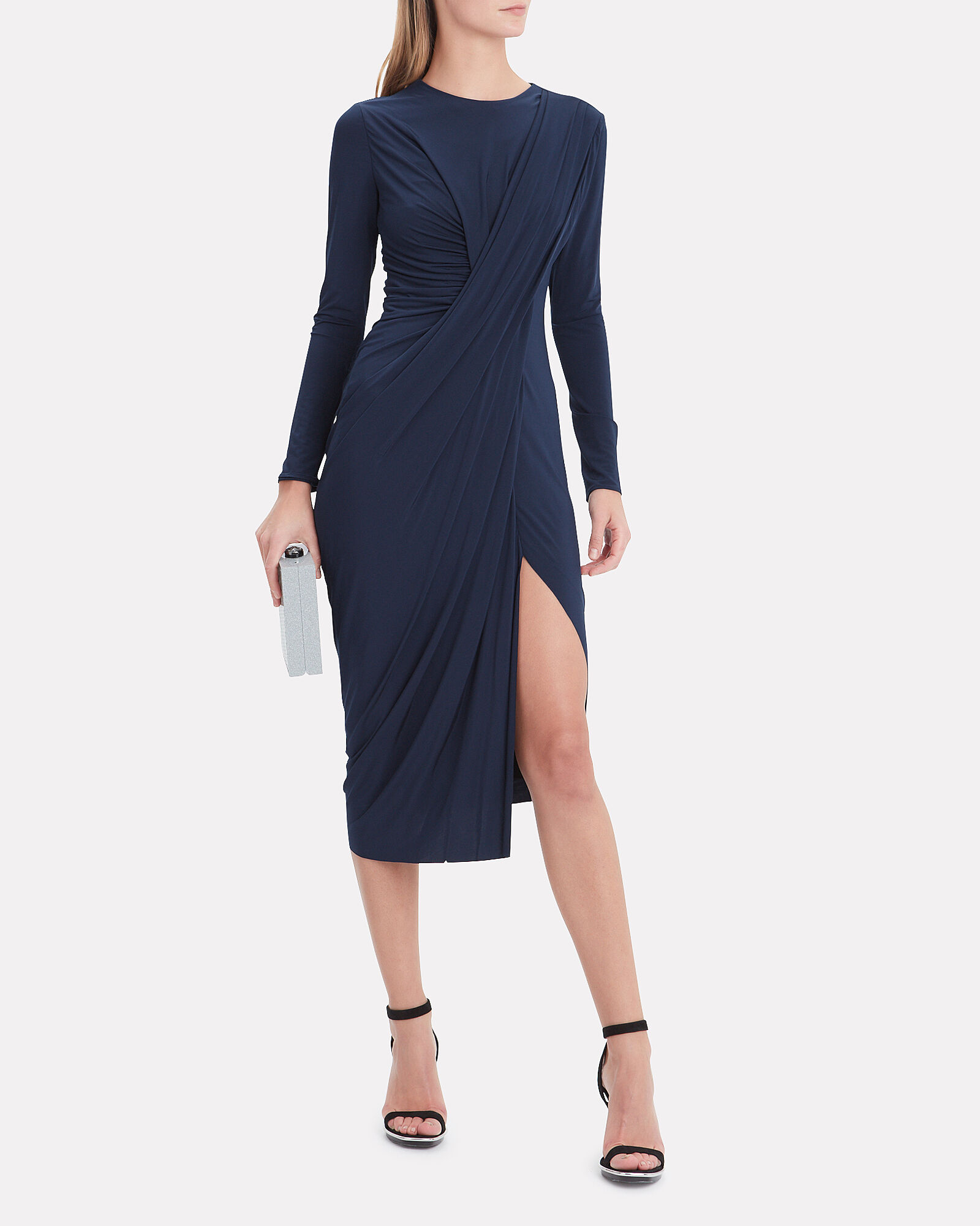 Draped Jersey Dress, NAVY, hi-res