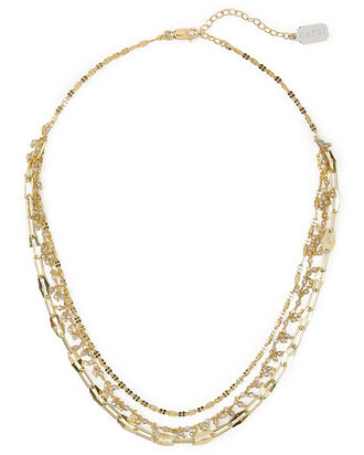 Three Chain Layer Necklace, GOLD, hi-res