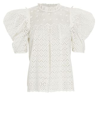 Mae Puff Sleeve Eyelet Top, WHITE, hi-res