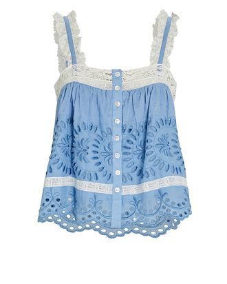 Sully Broderie Anglaise Tank Top, BLUE-LT, hi-res