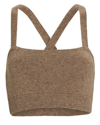 Cropped Cashmere Tank Top, BEIGE, hi-res