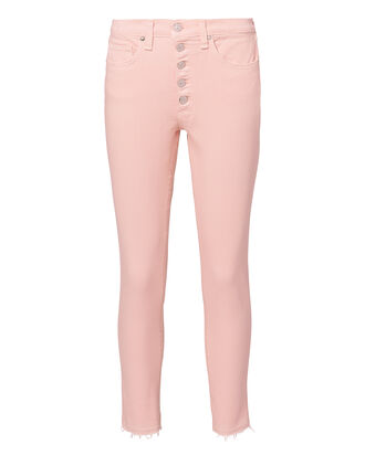 Debbie Exposed Fly Skinny Jeans, PINK, hi-res