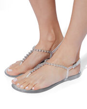 Studded Clear Jelly Sandals, CLEAR, hi-res
