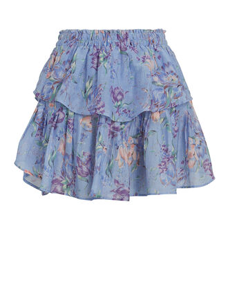 Ruffled Floral Mini Skirt, BLUE-MED, hi-res