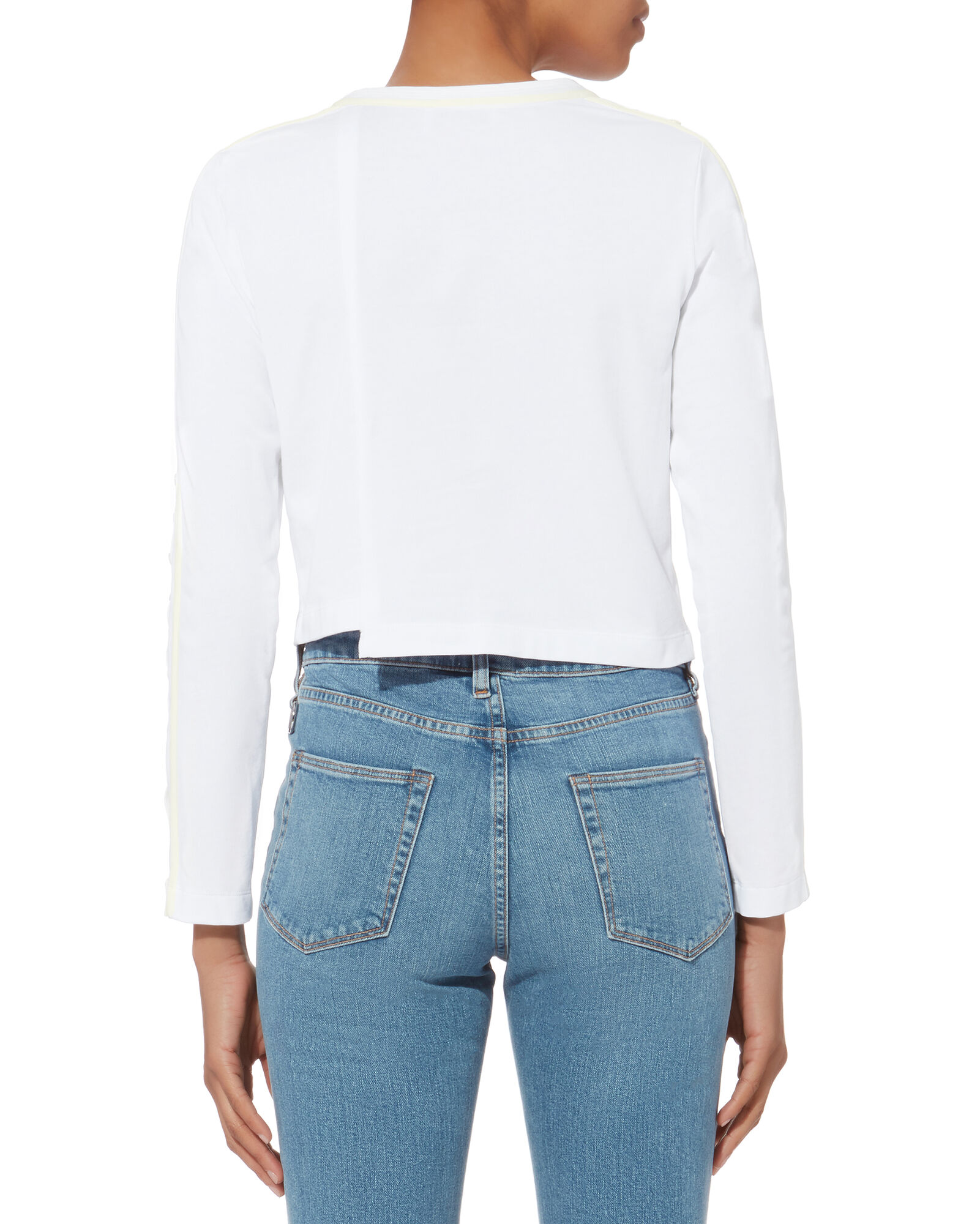 Button-Embellished Cropped T-Shirt, WHITE, hi-res