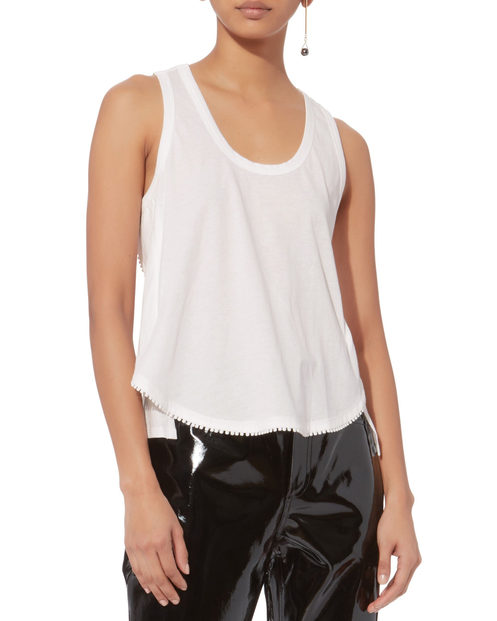 Lace-Trimmed Tank, WHITE, hi-res